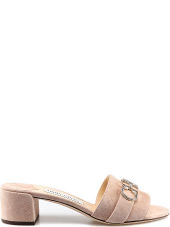 Jimmy Choo Crystal Logo Sandals