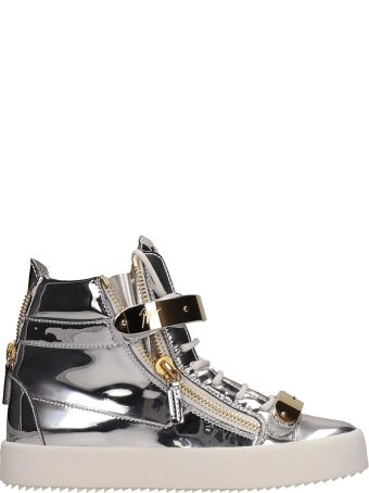 Giuseppe Zanotti Laminated Silver Leather Coby Sneakers