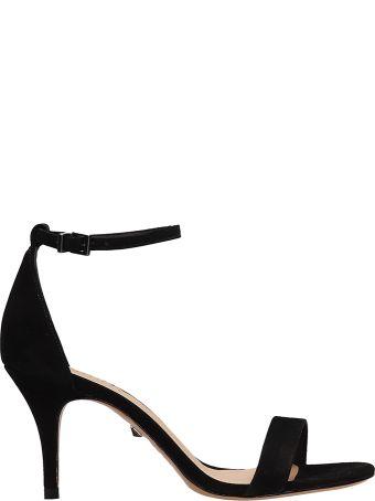 Schutz Black Suede Leather Sandals