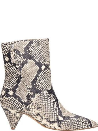 The Seller Python Print Leather Ankle Boots