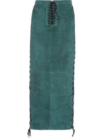 Ben Taverniti Unravel Project Suede Side Lace Up Long Skirt