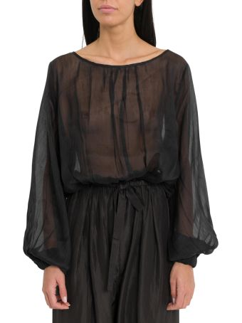 Forte_Forte Bodysuit Shirt With Sheer Effect