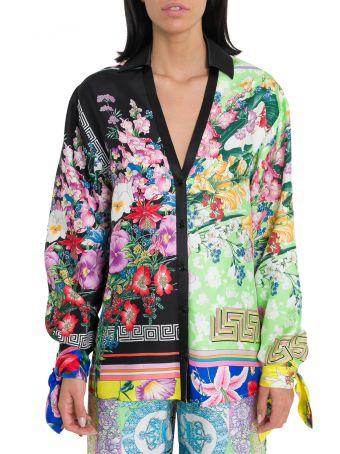 Versace Floralmania Print Twill Blouse