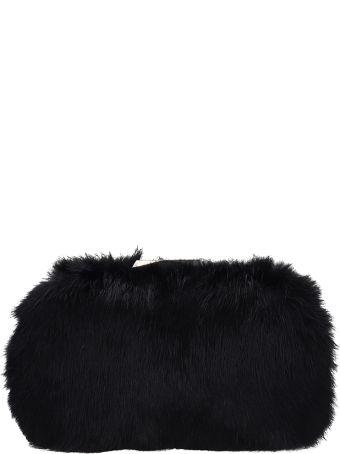Lola Cruz Rigid Clutch Bag With Black Fur