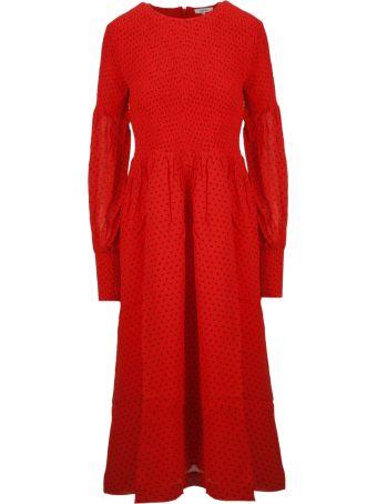 Ganni Polka Dot Flared Midi Dress