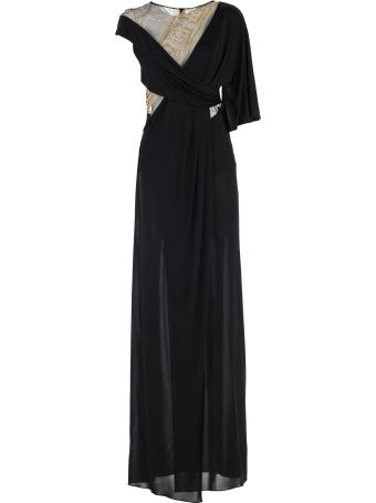 Versace Collection Dress S/s Long Flared Inserts Tulle