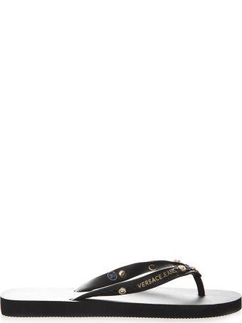 Versace Black Rubber Flip Flop Sandals With Gold Studs