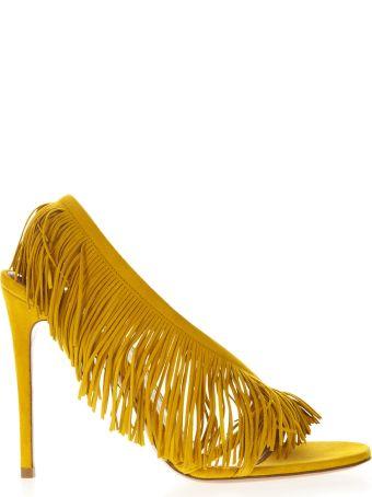 Aquazzura Wild Fringe Yellow Suede Sandals