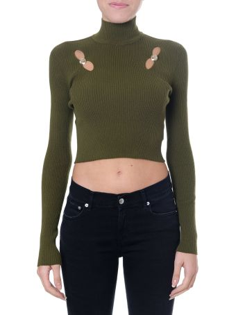 Versus Versace Green Short Top With Cut-out