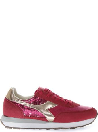 Diadora Heritage Red Sneakers With Suede Inserts And Sequins Applied