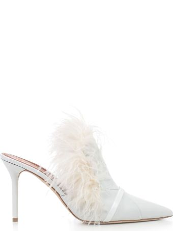 Malone Souliers Feather Fur Trim Mules