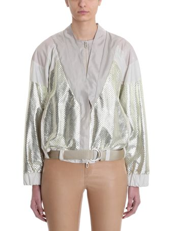 DROMe Perforated Gold Leather And Fabric Biker Jackets