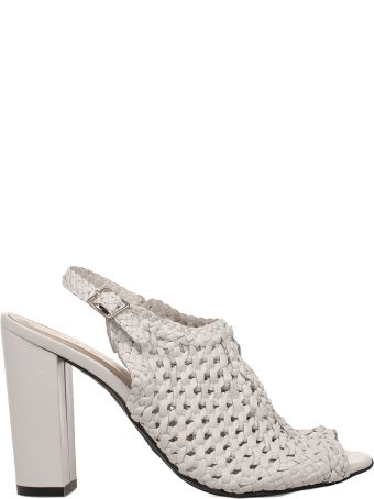 Yves Desfarge White Juliet Leather Heeled Sandal