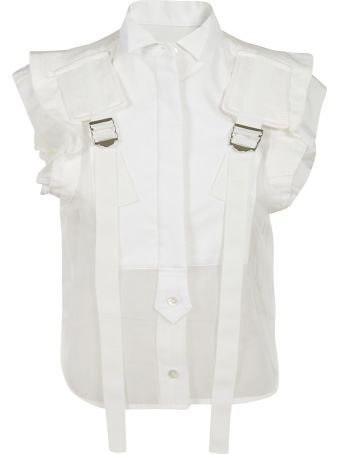 Sacai Concealed Button Strap Detail Top