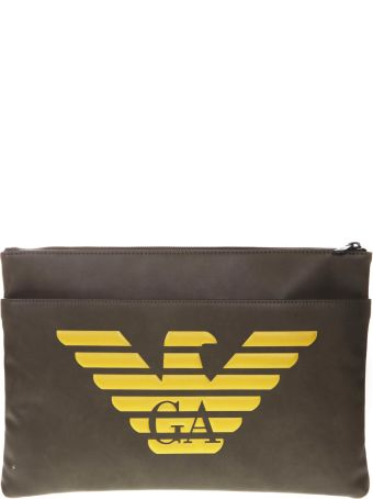 Emporio Armani Military Green Faux Leather Document Holder With Logo