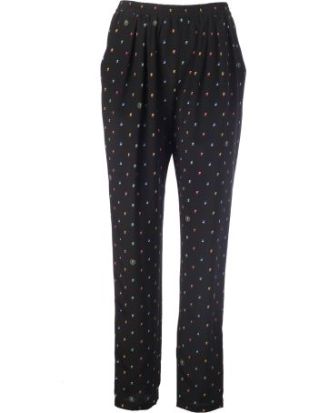 Stella McCartney Trousers With Fantasy Print And Band On Sides