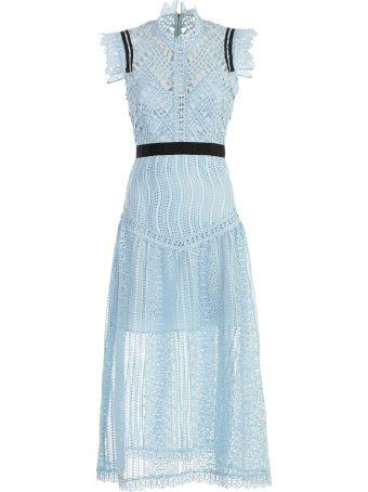 self-portrait Dress Midi Blue Abstract Triangle Lace