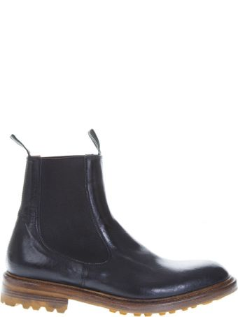 Green George Black Shiny Leather Ankle Boots