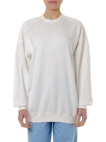Acne Studios White Cotton Sweatshirt With Logo