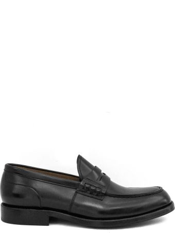 Green George Black Leather Penny Loafer.