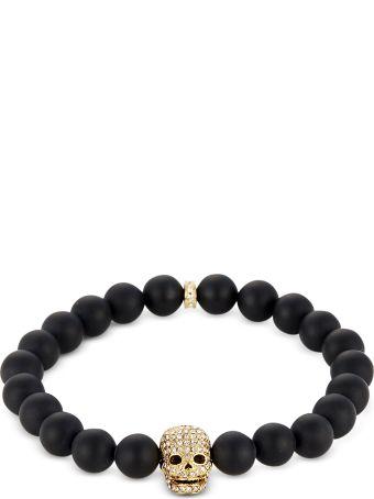 Northskull Matte Black Onyx/gold Skull Bracelet With Crystals