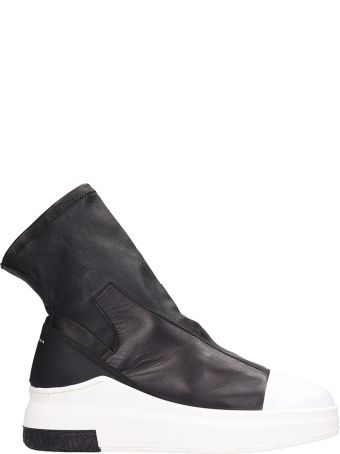 Cinzia Araia Black Leather Sneakers Boots