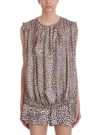 L'Autre Chose Leopard Print Silk Top