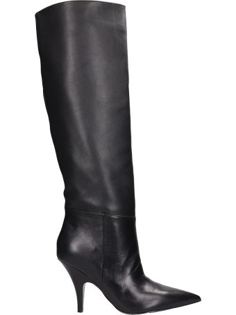 Kendall + Kylie Black Leather High Boots