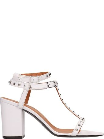 Via Roma 15 White Leather Sandals
