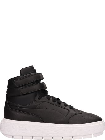 Puma Black Leather Platform Trace Sneakers