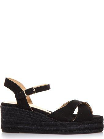 Castañer Black Cotton Crossed Sandals