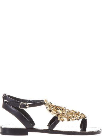 Lola Cruz Luanda Ii Black Leather Sandals
