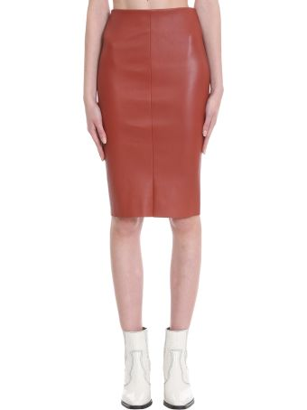DROMe Skirt In Red Leather