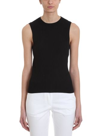 Mauro Grifoni Black Ribbed Viscose Top