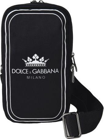 Dolce & Gabbana Crown Logo Print Shoulder Bag