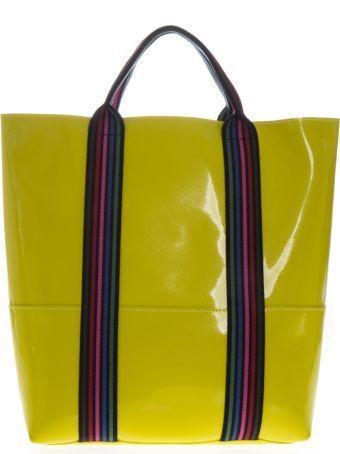 Gianni Chiarini Yellow Vinyl Shopping Bag With Shoulder