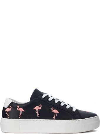 M.O.A. master of arts Moa Flamingo Black Leather Sneaker With Flamingos