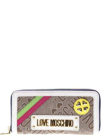 Love Moschino Wallet In Natural And White Jacquard Fabric