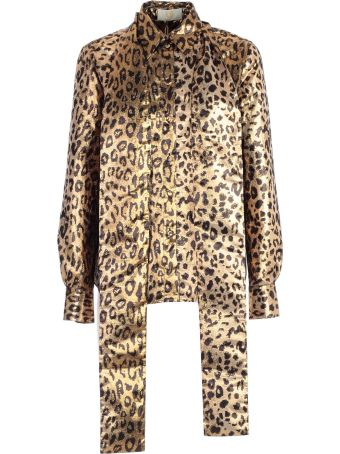 Sara Battaglia Leopard Embellished Shirt