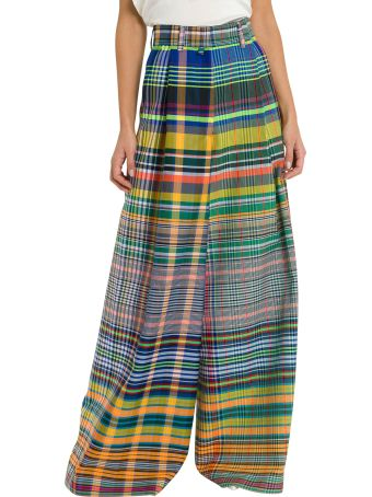 Dries Van Noten Check Wide Trousers With High-rise