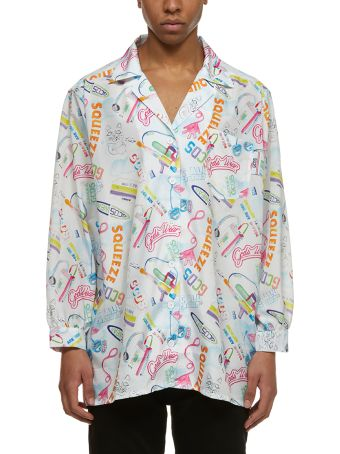 GCDS Printed Cropped Sleeves Shirt
