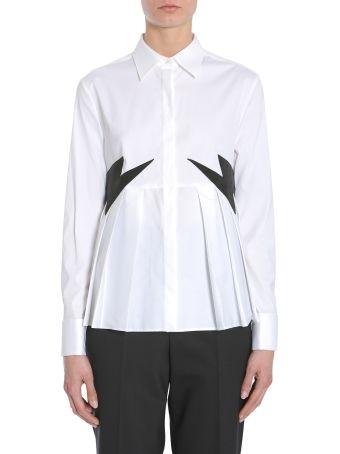 Neil Barrett Pleated Shirt With Velvet Thunderbolts