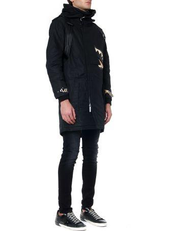 Sprayground Black Asymmetric Fish Polyester Jacket