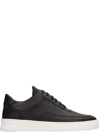 Filling Pieces Black Leather Low Mondo Ripple Sneakers