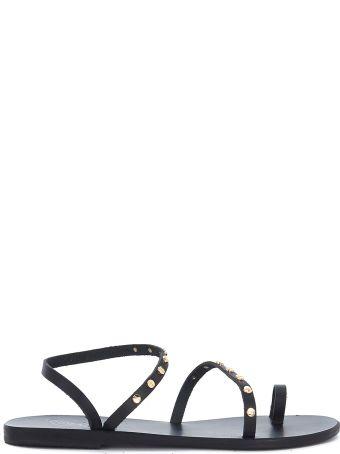 Ancient Greek Sandals Apli Eleftheria Black Leather Sandal With Studs