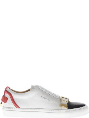 Buscemi White Leather Sneakers With Buckle Detail