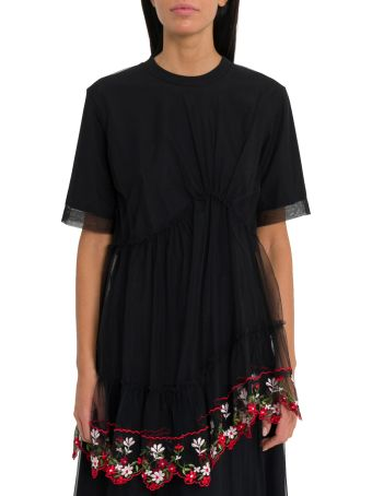 Simone Rocha T-shirt With Embroidered Tulle Drape