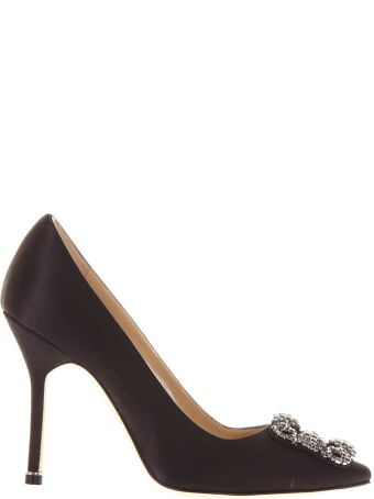 Manolo Blahnik Black Satin  Swarovski Embellished Pumps