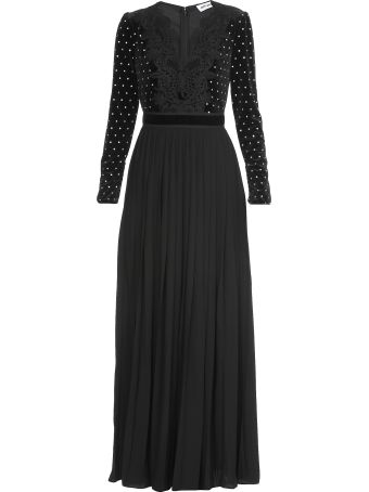 self-portrait Lace Trimmed Diamante Dress