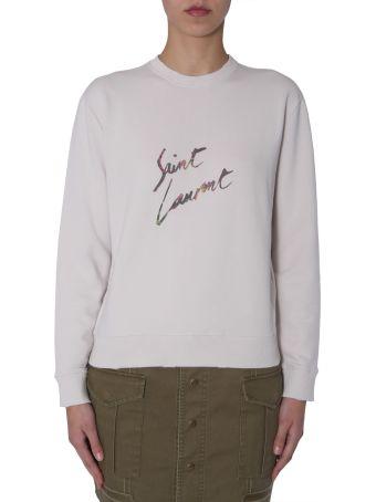 Saint Laurent Fleece With Logo Animalier Print